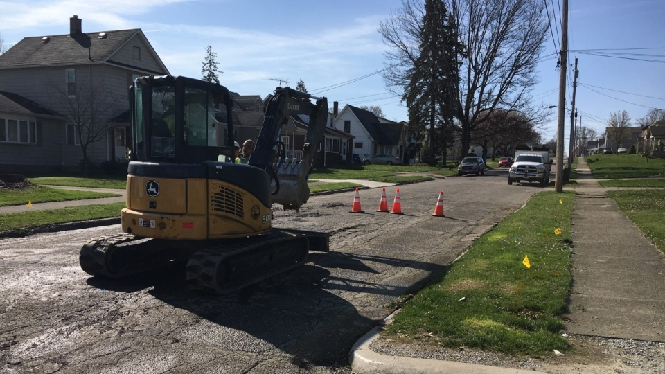 Struthers, 8th Street water main break.
