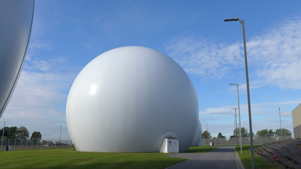Satellite dishes inside Kevlar domes at the Kester Satellite Ground Station in Kester, Belgium, Thursday, Oct. 15, 2020.