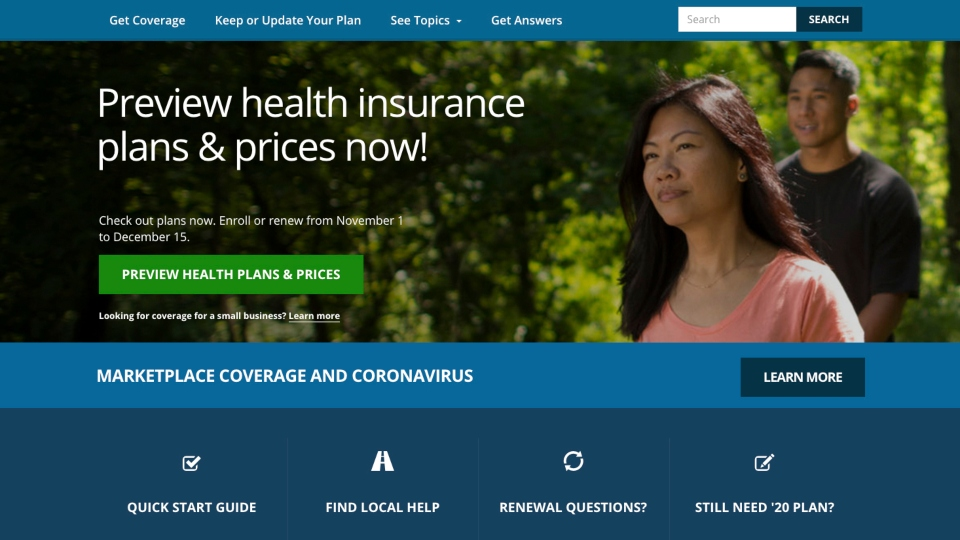 This image provided by U.S. Centers for Medicare & Medicaid Service shows the website for HealthCare.gov. Millions of Americans who have lost health insurance in an economy shaken by the coronavirus can sign up for taxpayer-subsidized coverage starting Sunday, Nov. 1, 2020.