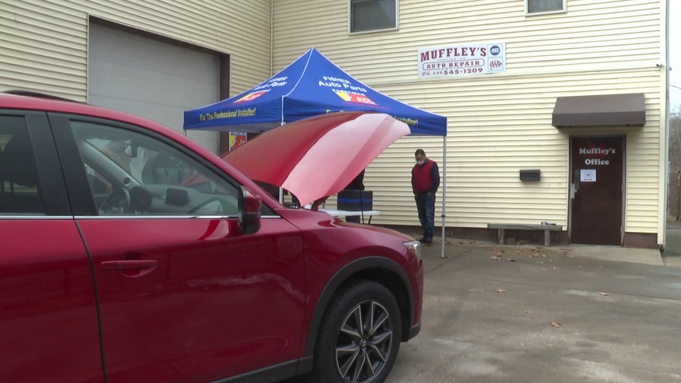 Saturday, Muffley's Auto Service held a free winter car clinic. Anyone could come by for a coolant check, battery check and tire adjustment.