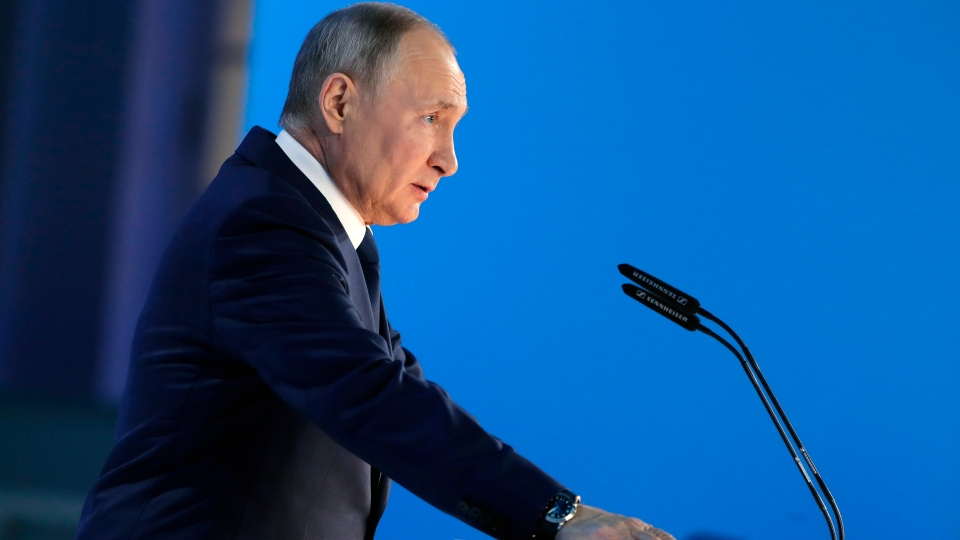 Russian President Vladimir Putin gives his annual state of the nation address in Manezh, Moscow, Russia, Wednesday, April 21, 2021.