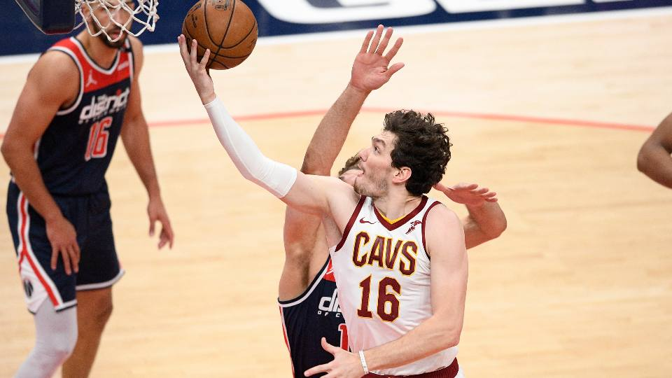 Cleveland Cavaliers forward Cedi Osman (16) goes to the basket during the second half of an NBA basketball game against the Washington Wizards, Friday, May 14, 2021, in Washington. The Wizards won 120-105.
