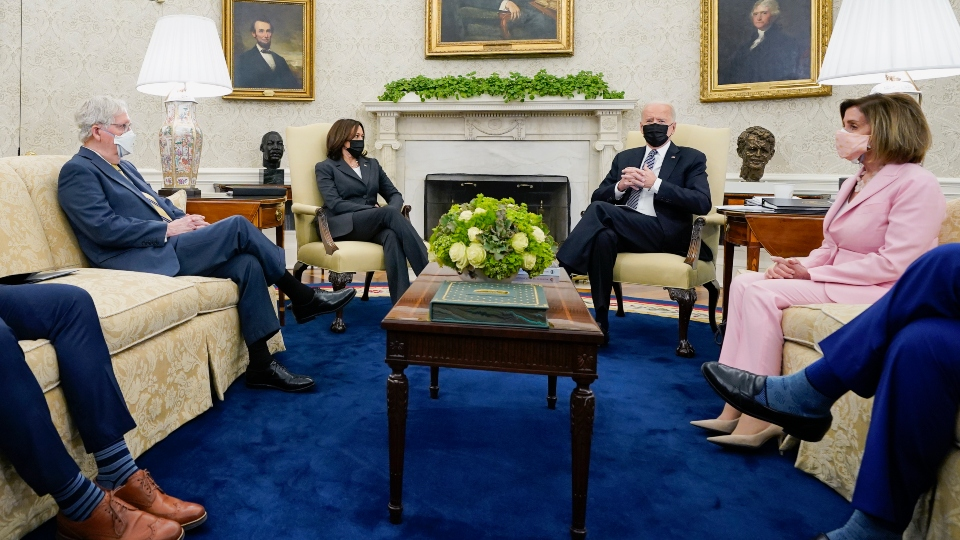 In this May 12, 2021, file photo President Joe Biden speaks during a meeting with congressional leaders in the Oval Office of the White House in Washington.