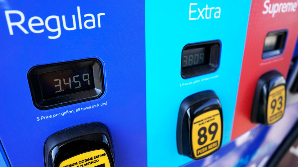 Gas price is seen at a Mobil gas station in Vernon Hills, Ill., Friday, June 11, 2021