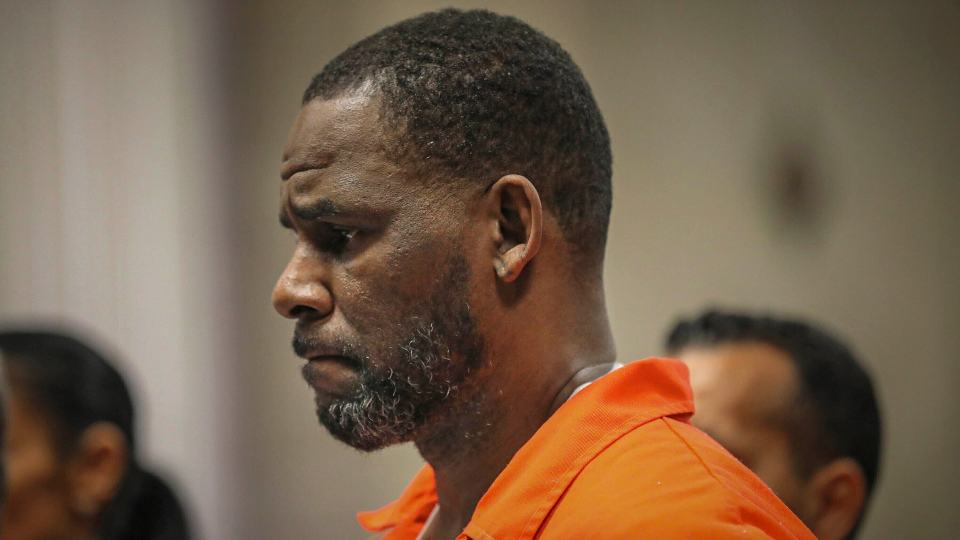 FILE - In this Sept. 17, 2019, file photo, R. Kelly appears during a hearing at the Leighton Criminal Courthouse in Chicago. Federal prosecutors in New York on Friday, July 23, 2021, asked a judge for permission to admit what they said was evidence for which Kelly has not been charged, at his upcoming sex-trafficking trial in Brooklyn. (Antonio Perez/Chicago Tribune via AP, Pool, File)