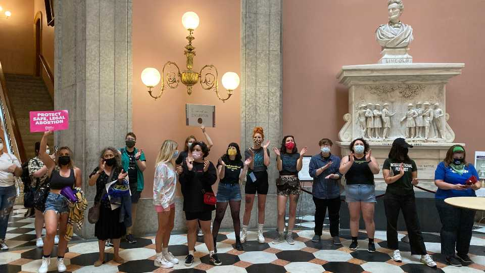 Abortion rights protesters rally in the Rotunda of the Ohio Statehouse on Tuesday, Sept. 28, 2021, in Columbus, Ohio. The protest came a day before the Senate Health Committee was scheduled to hear a bill that would ban abortions in Ohio in the event of a U.S. Supreme Court decision overturning the Roe v. Wade decision.