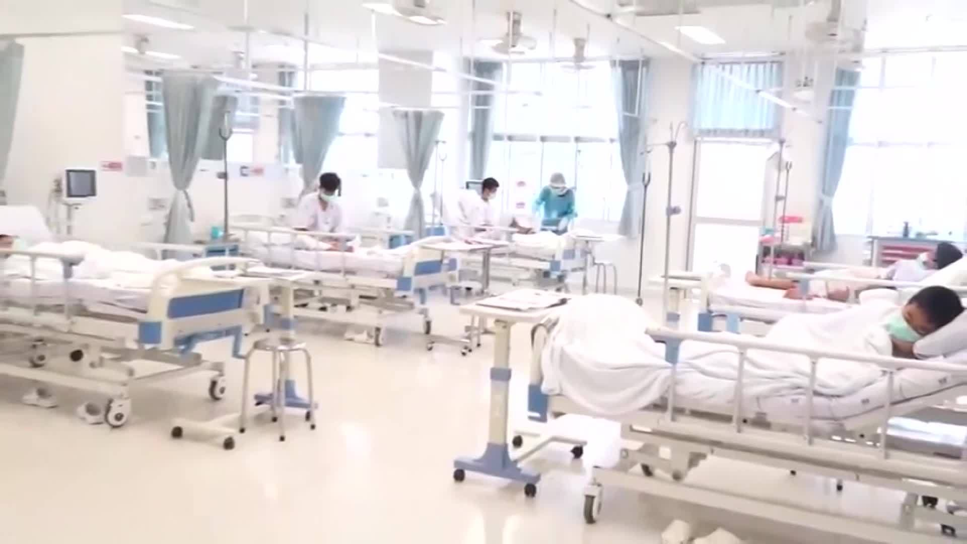 Video shows rescued Thai boys in hospital