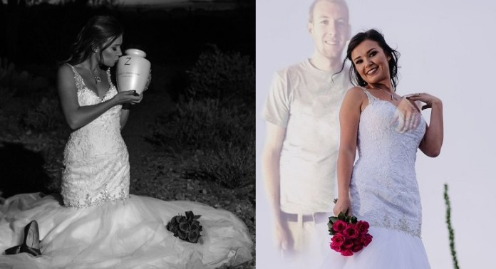PHOTOS: Bride has late fiancé edited into wedding pictures after he dies in crash