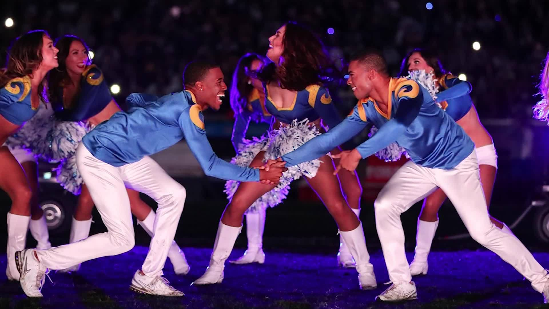 VIDEO: First male NFL cheerleaders to perform at Super Bowl