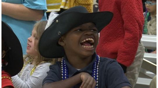 Conde Cavaliers bring Mardi Gras spirit to special needs students