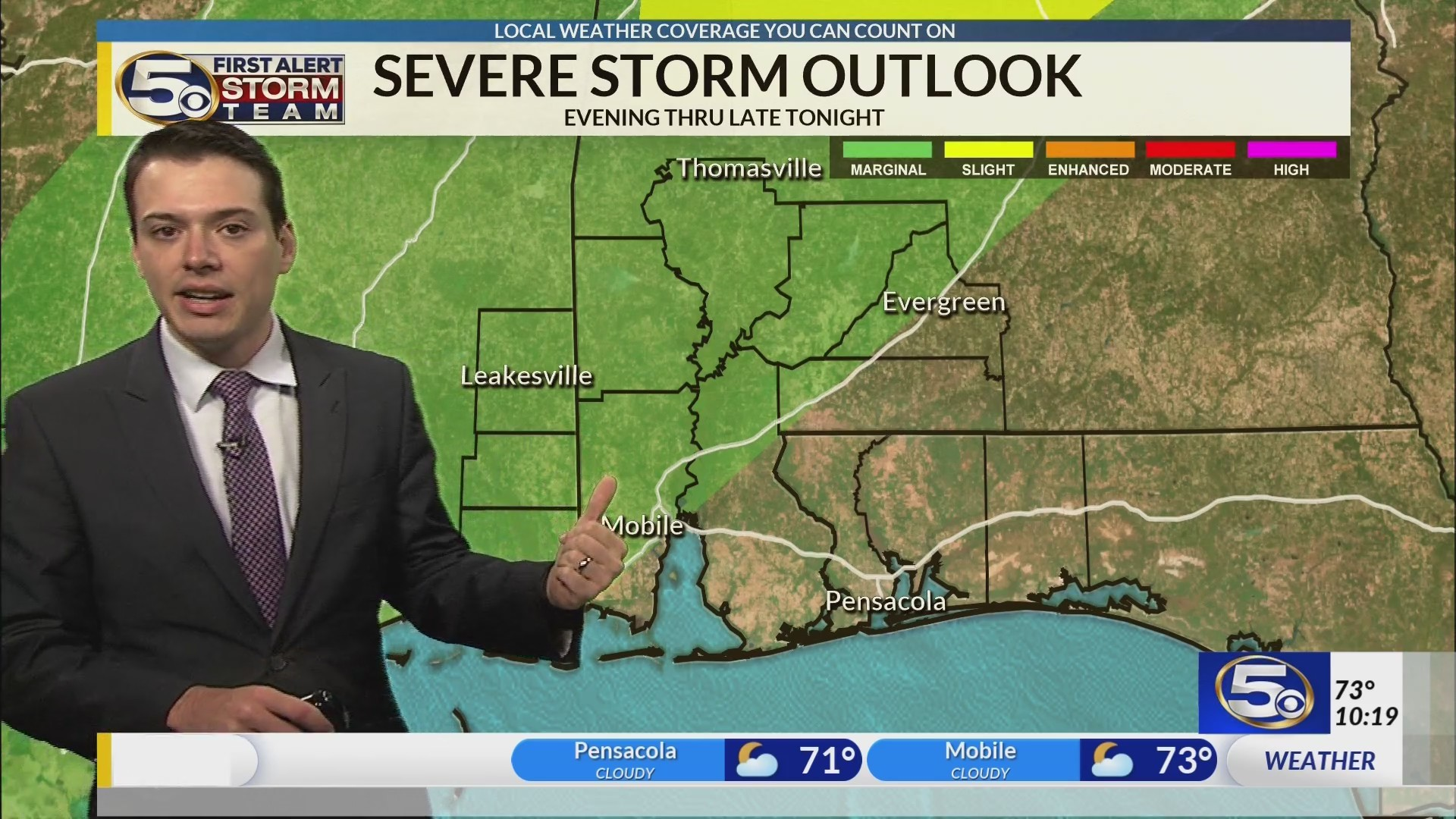 Showers and a few thunderstorms tonight before a cooler Sunday