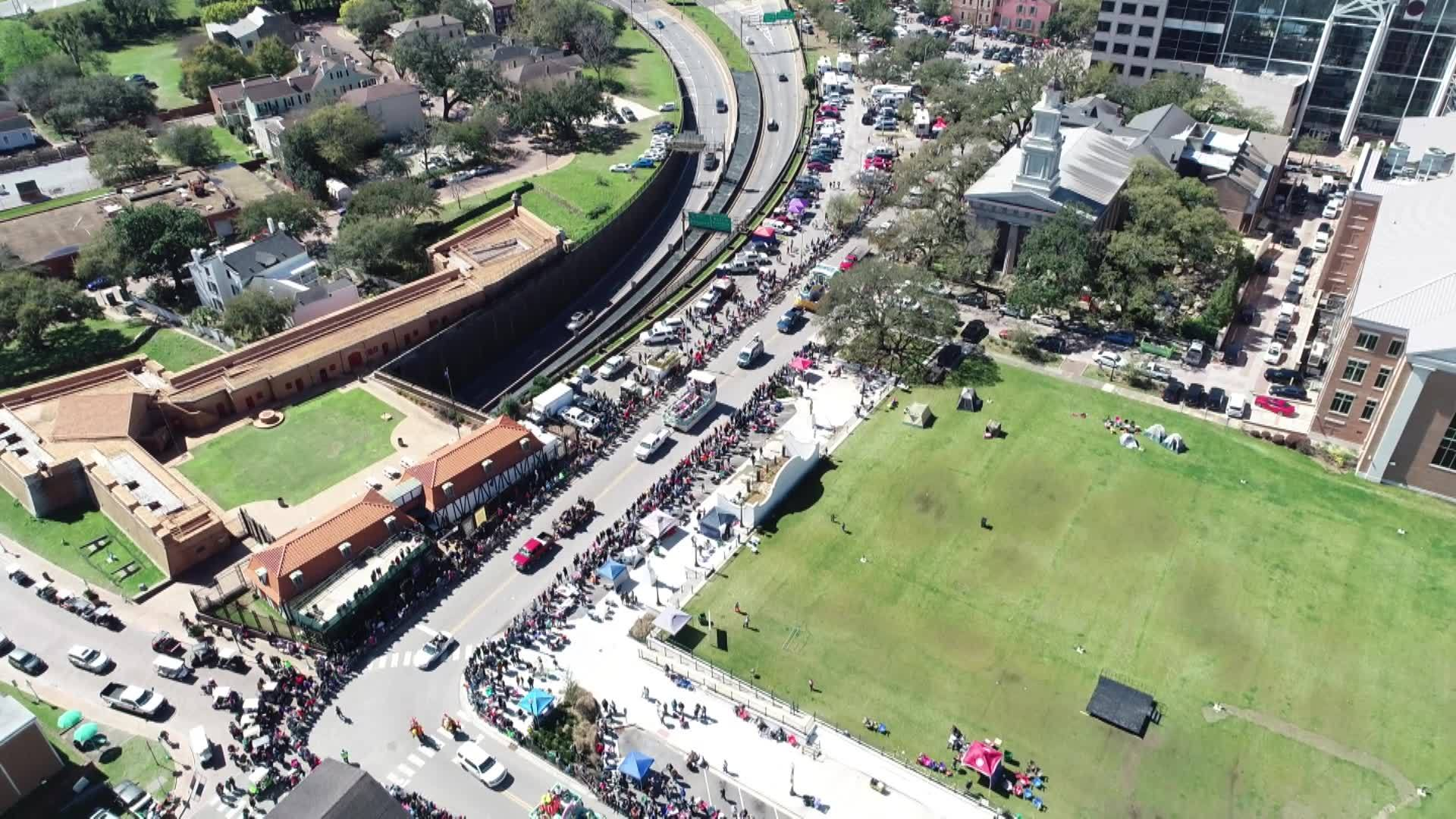 Mardi Gras from the sky in Mobile