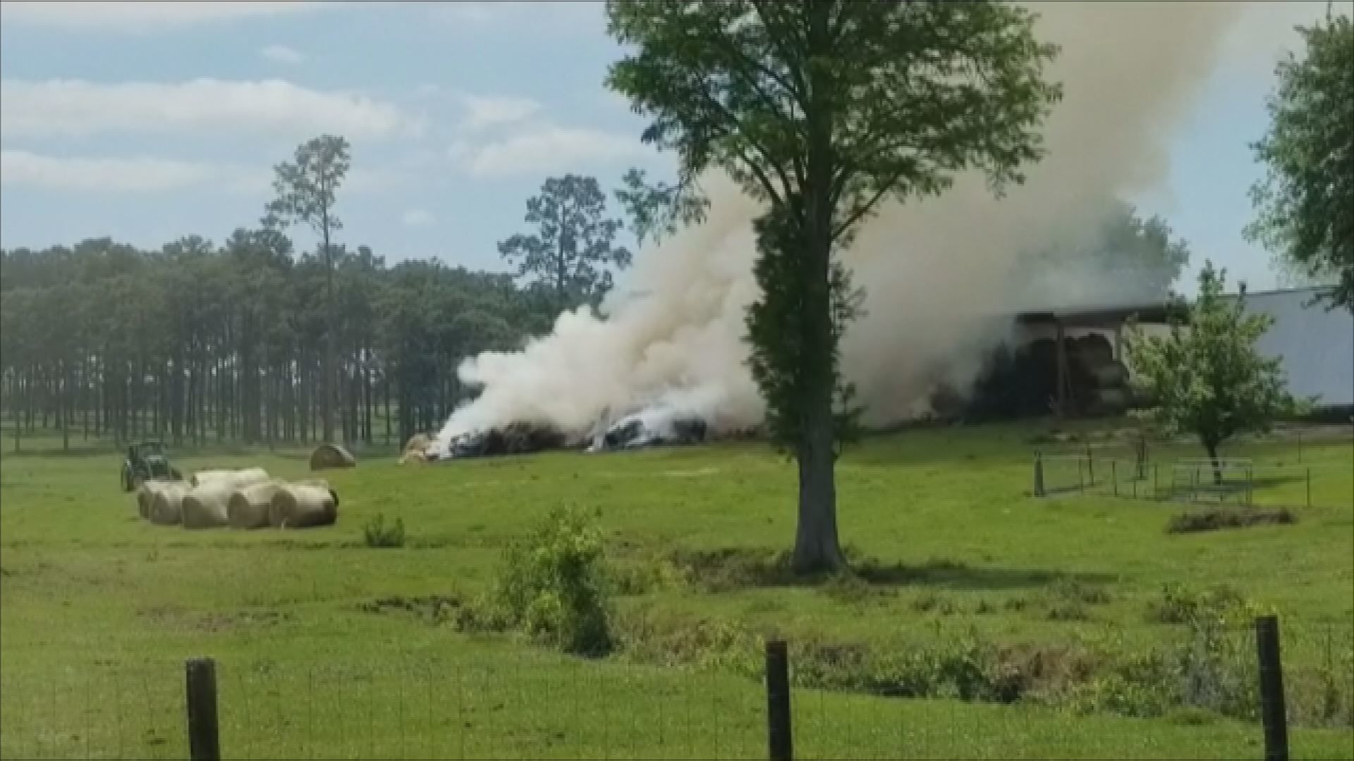 Hay barn fire video in Loxley