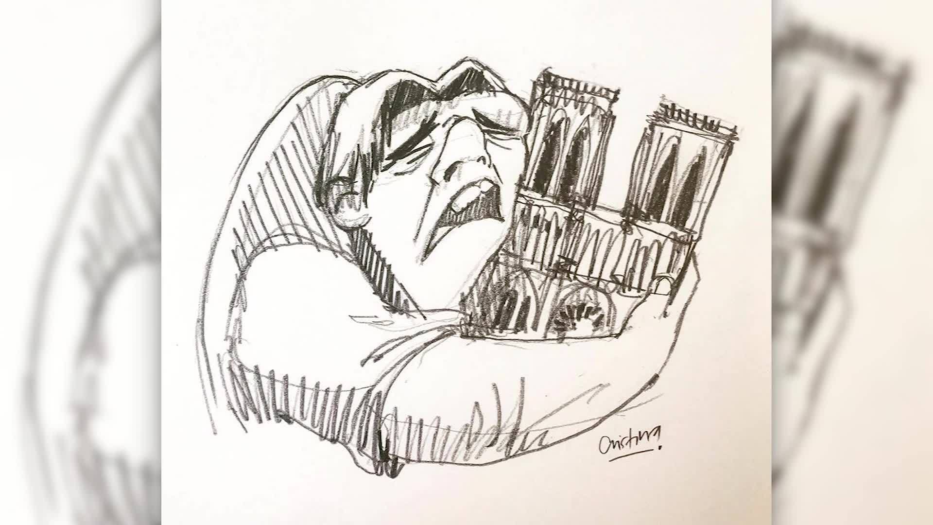 VIDEO: Notre Dame Fire: Artist pays tribute to cathedral with drawing