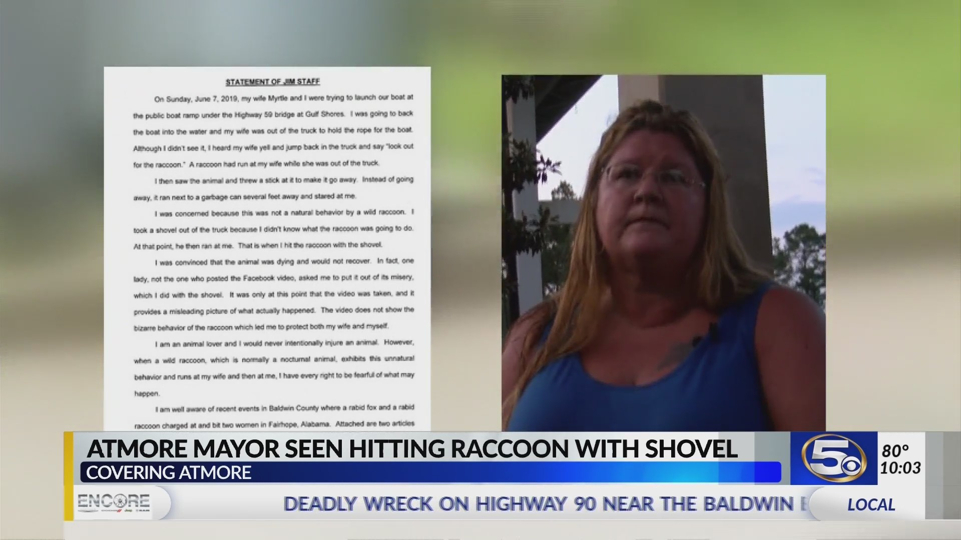 Raccoon beating: Video shows Atmore mayor hitting it with a shovel