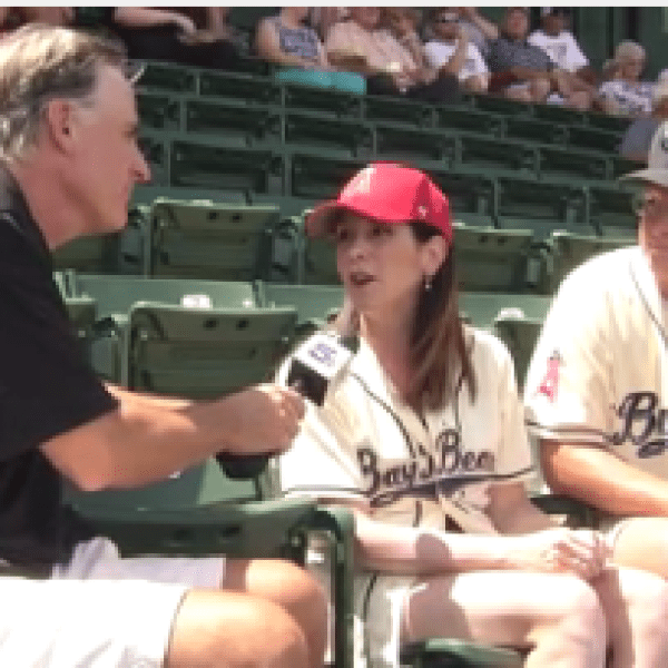 Peter Albrecht interviewing fans during the Mobile BayBears final game