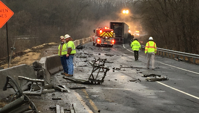 Fiery semi crash closes I-40 East for hours in Dickson County