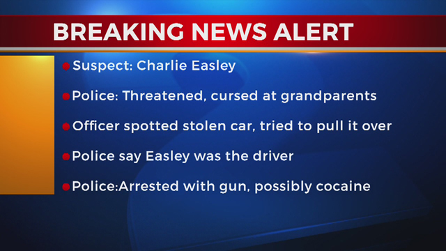 Charlie Easley Teen threatens to shoot grandparents, caught with stolen car