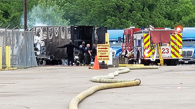 No injuries in fully-engulfed semi fire in Bordeaux