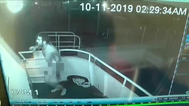 Naked man steals yacht flag