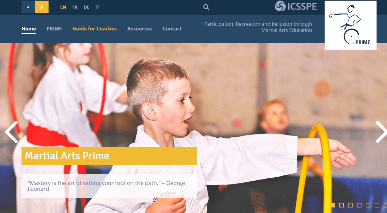 PRIME and inclusive martial arts. The web site and the Guide for Coaches are online