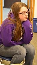 Aryonna Mullins listens during a Restorative Circle