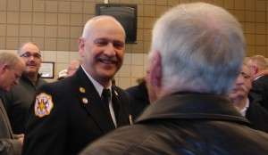 Retiring Wyoming Fire Chief Bob Austin is surrounded by well wishers during his retirement party on March 3rd.