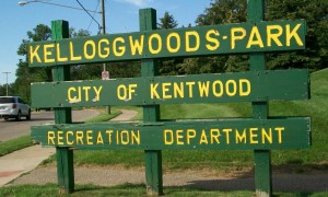 Kelloggwoods Park sustained heavy tree damage.