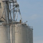 A Monday afternoon explosion destroyed the upper half of this grain silo.