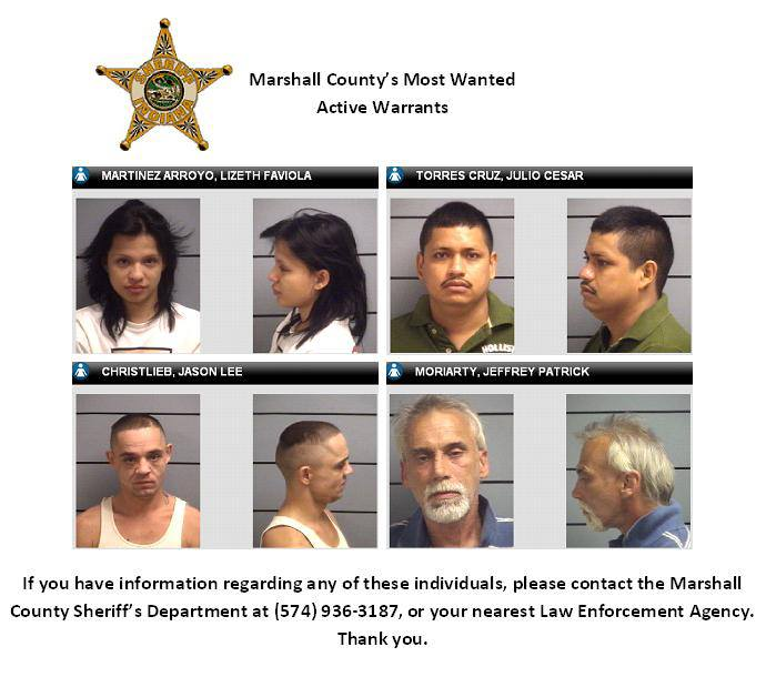 """Marshall County Sheriff's Department Posts """"Most Wanted"""" List on"""