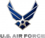Air Force Logo - Silver and Blue 3D, with text