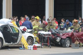 O-D students staged a mock fatality crash to underscore the consequences of drunk driving.