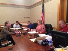 Nathan Origer presents information to Pulaski County Commissioners