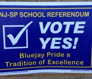 Several signs supporting the N.J.-S.P. school referendum disappeared shortly after being put out over the weekend.