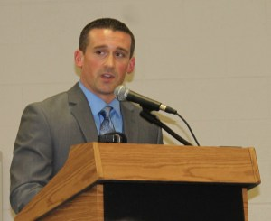 Starke County Prosecuting Attorney Nick Bourff announces the formation of the the Starke County Major Crimes Unit during a community program sponsored by the Knox Police Department and DCS.