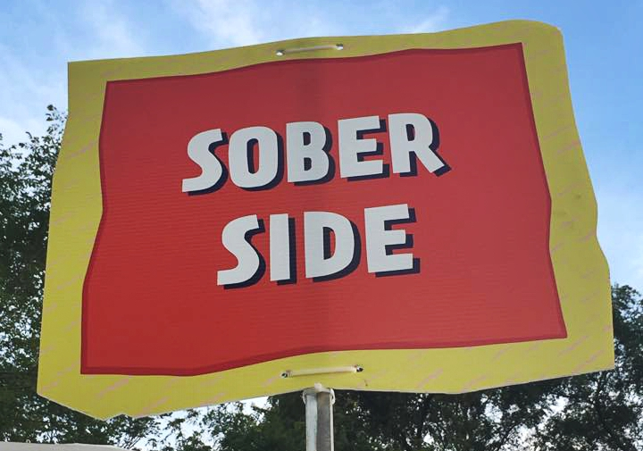 The Soberside Sign at the tent at Lollapalooza