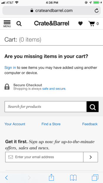 CrateandBarrel lets users access their cart across devices