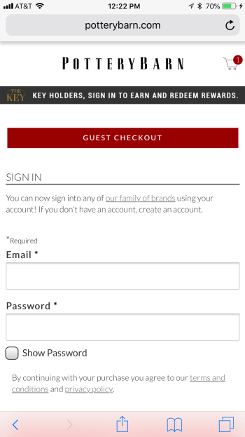 Pottery Barn makes it easy to checkout as a guest