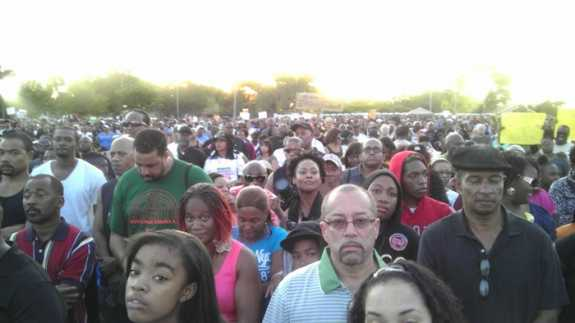 """View from the center of the 8,000+ strong crowd at """"The Trayvon Martin March and Rally for Justice"""" in downtown Sanford, March 26th 2012. Photo by Nicole Creston"""