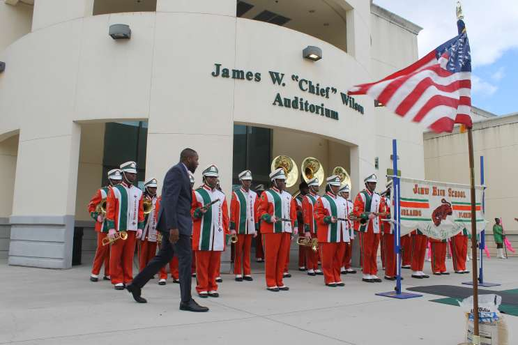 Jones High marching band director Jamaal Nicholas readies the Marching Tigers for a performance. Photo: Matthew Peddie, WMFE