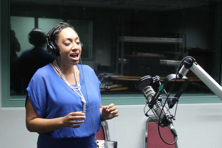D'Andrea Pelletier- The Opera Realtor- sings two of her favorite Arias for Intersection. Photo; Matthew Peddie, WMFE