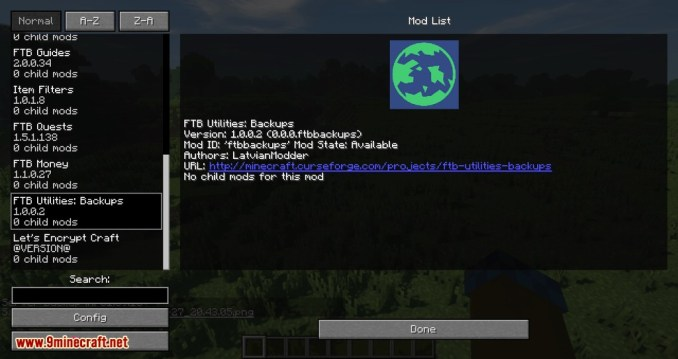 FTB Utilities Backups mod for minecraft 07