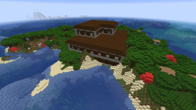 Spawn in Woodland Mansion on an Island Seed