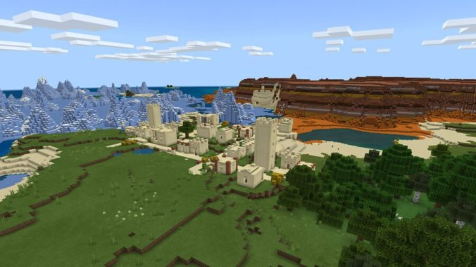 Desert Village Surrounded by Biomes Seed
