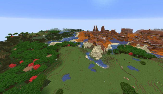Many Biomes At Spawn and Huge Mesa