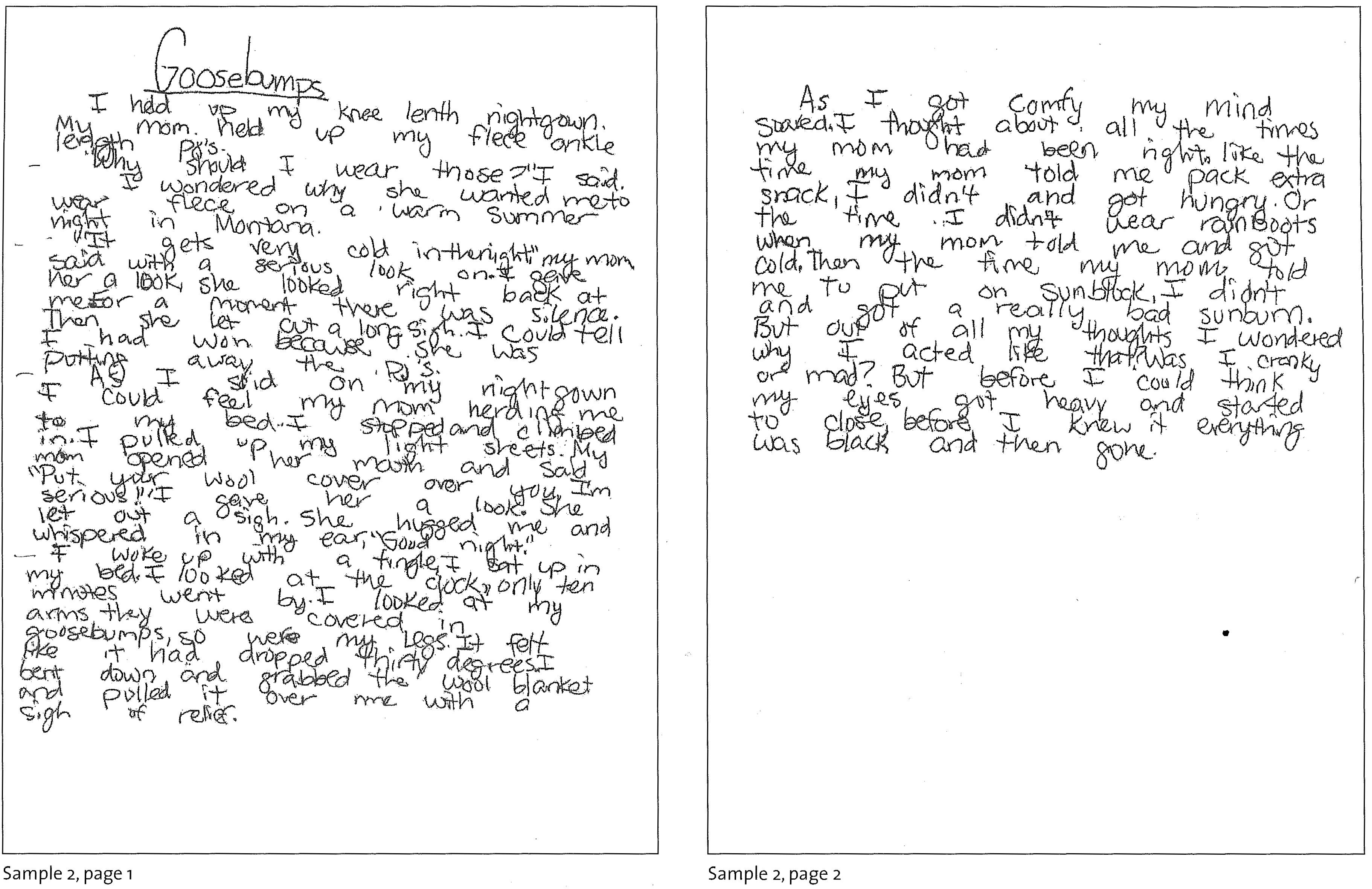 Sample 5th Grade Essays