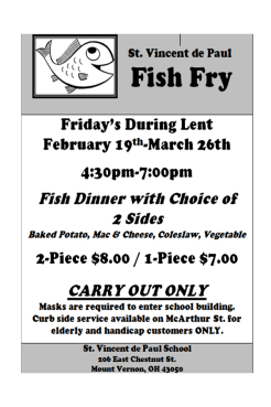 Fish Fry St. Vincent de Paul @ St. Vincent de Paul