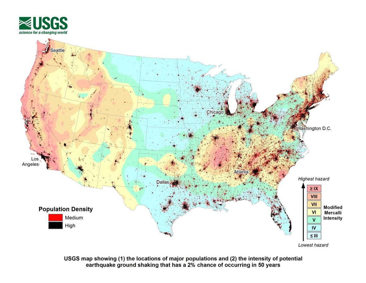 Map - Population and Ground Shaking_492814