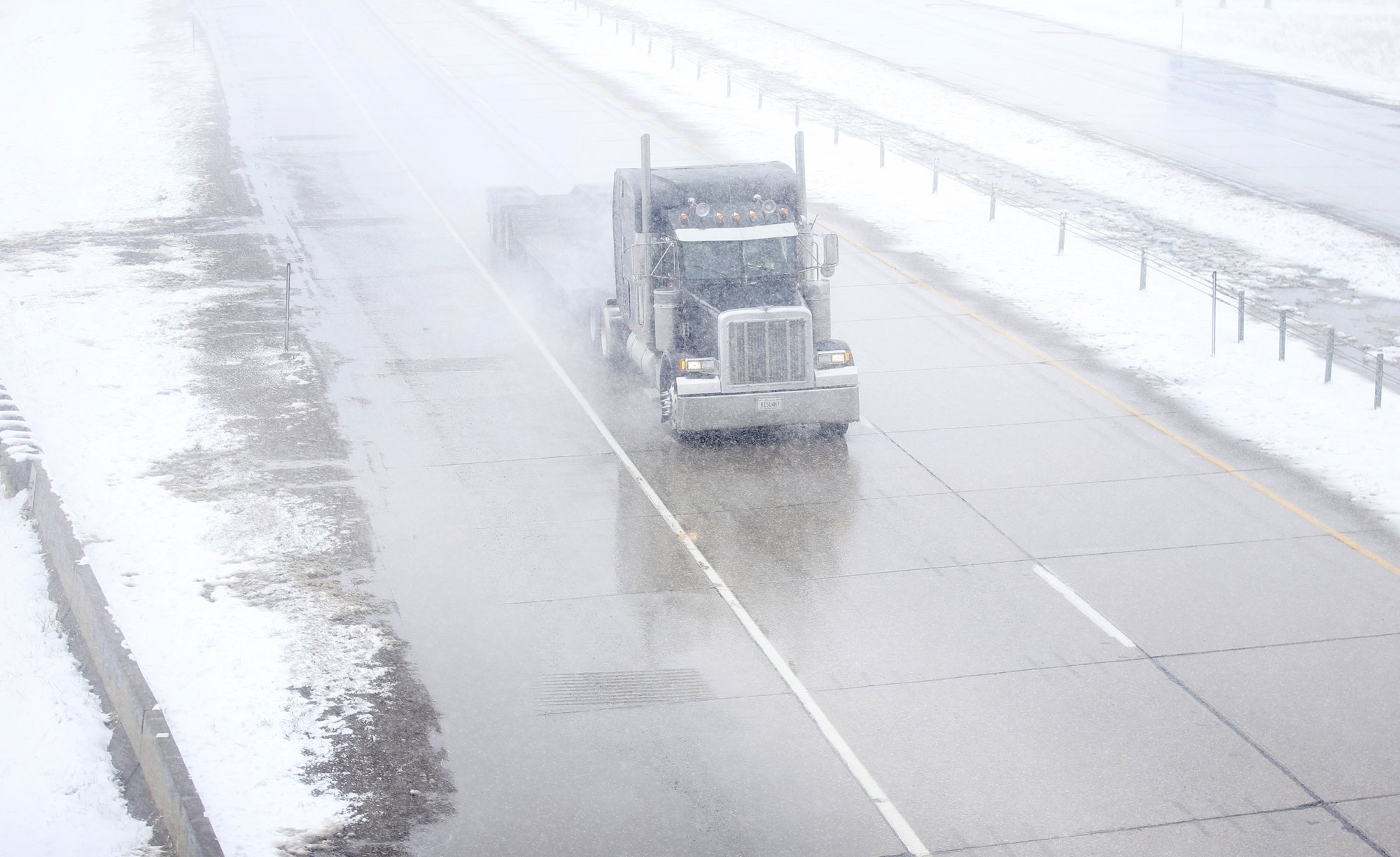 Truck Driving In Blizzard
