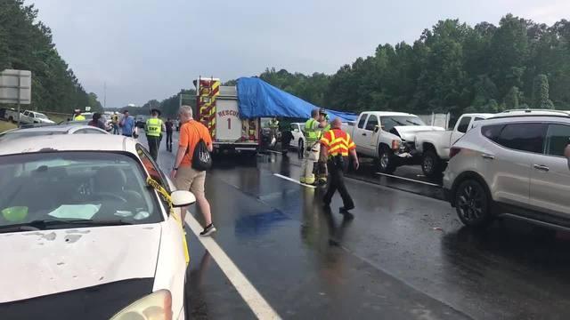 12 People injured in 30 vehicle pileup on I-40 in Garner, N C